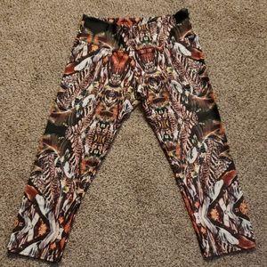 NWT Onzie Aztec and Peacock Printed Capri Pants
